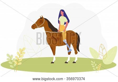 Cartoon Woman With Prosthetic Leg Ride Horse Vector Illustration. Girl With Prosthesis Horseriding.