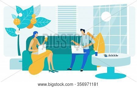 Coworkers Friendly Talk Flat Vector Illustration. Friends, Colleagues Cartoon Characters. Woman And