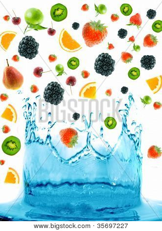 berry jumping into water with  splash