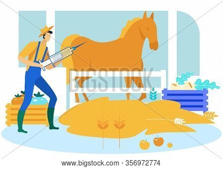 Farmer In Yellow Hat With Syringe In Hands Makes Horse Prick. Vector Illustration. Farm Business. Ho