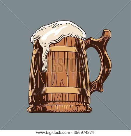 Beer Classic Wooden Mug Or Tankard. Isolated, Vector Illustration.