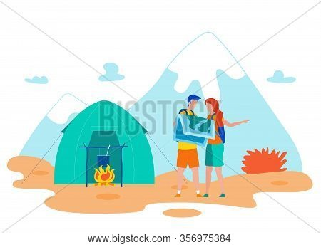 Hikers Checking Map Cartoon Vector Illustration. Couple Searching Location In Wilderness Area. Man A