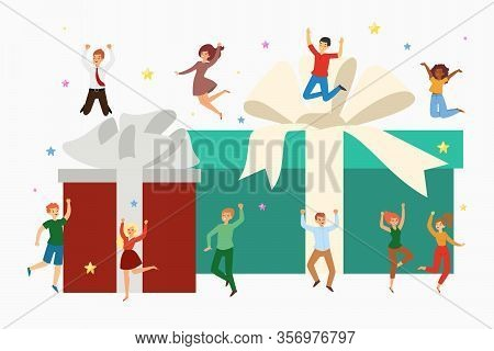 Gift Boxes And Happy Tiny People Jumping With Huge Presents Cartoon Vector Illustration Isolated On