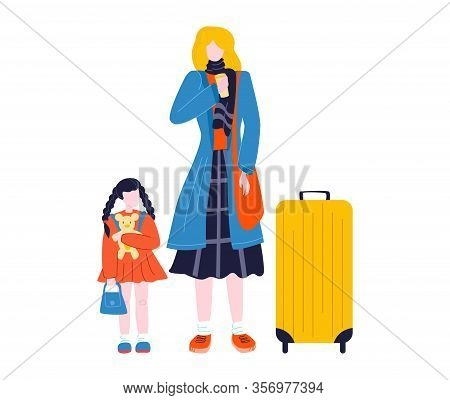 Tourist Woman Walking With Suitcase Baggage In Airport Traveling, Journey Isolated On White Flat Vec