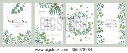 Wedding Greenery Posters. Elegant Floral Frames, Rustic Vintage Borders Of Branches And Leaves. Vect