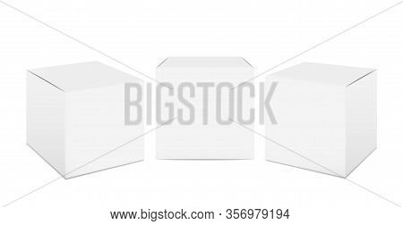 Cube Box Mockup. White Cardboard Realistic Packaging, 3d Isolated Paper Package Boxes. Vector Cosmet
