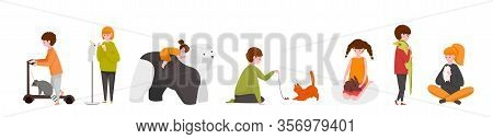 Kids With Pets. Happy Cartoon Children Characters With Adopted Home Animals, Cute Kids Playing With