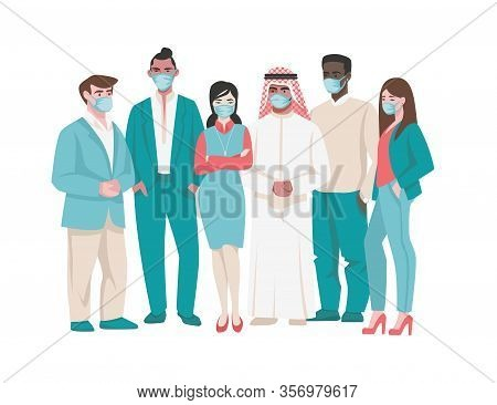 People In Medical Mask. Cartoon Diverse Characters In Medical Face Masks, Coronavirus Prevention And