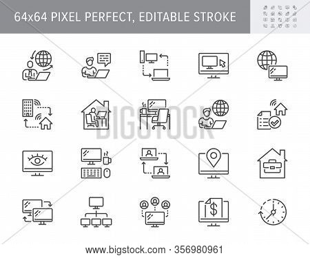 Work From Home Line Icons. Vector Illustration Included Icon As Freelance Worker With Laptop, Worksp