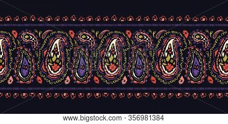 Hand-drawn Artistic Ink Colorful Paisley Swirls Vector Seamless Horizontal Border. Trendy Boho Tradi