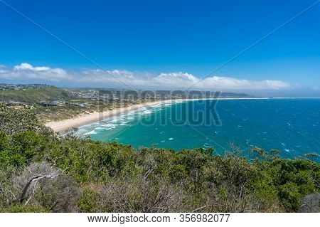 Beautiful View On Picturesque Seaside Town And Lagoon With Sandy Beach. Plettenberg Bay, South Afric