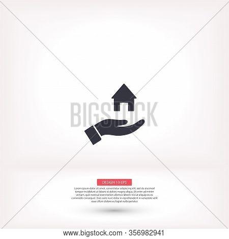House Icon In The Hand , Lorem Ipsum Flat Design