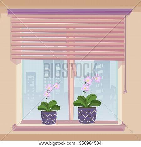 Windowsill Decoration. Flowerpots Blooming Pink Flower Indoor. Window Jalousie Louversin Room With B
