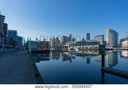 Melbourne, Australia - June 14, 2017: Modern Cityscape With Highrise Waterfront Buildings. Luxury Co