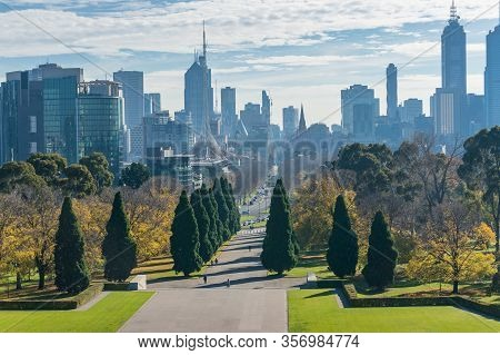 Melbourne Cityscape With Central Business District Skyline And Park