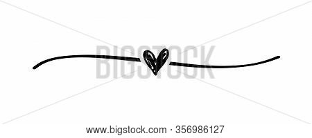 Hand Drawn Elegant Shape Heart With Cute Sketch Line, Divider Shape. Love Doodle Isolated On White B