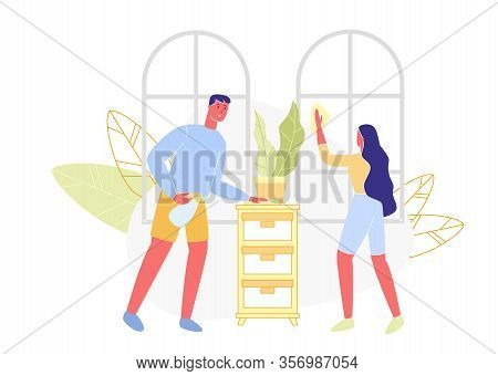 Woman Washes Window And Man Wipes Dust. Cleaning Apartments. Vector Illustration. Family Care Cleanl