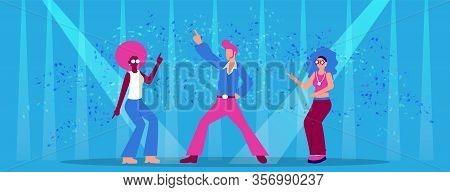 Cartoon People Disco Dancers In Neon Light Dancefloor Vector Illustration. Man In Funky Costume. Wom
