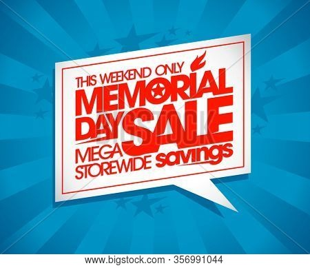 Memorial day sale web banner with speech bubble, mega storewide savings, weekend only, radyerized version
