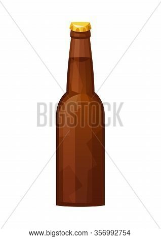 Glass Beer Brown Bottle On White Background Isolated Vector