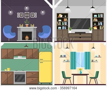 Apartment Interior Coworking Vector Illustration. Resource Sharing Model Reduce Operating Costs. Acc