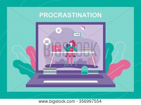 Banner With Procrastinating Woman On Laptop Screen. Female Worker Cartoon Character Reading Fashion