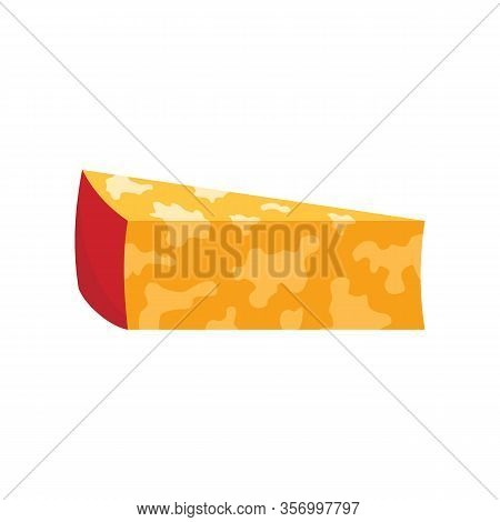 Colby Jack Cheese Flat Icon. Vector Colby Jack Cheese In Flat Style Isolated On White Background. El