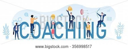 Coaching Concept For Business Achievements With A Group Of People And Businessman On Large Text - Co