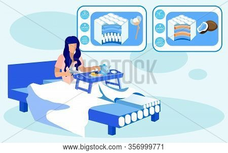 Young Woman, Having Breakfast In Bed, Served On Tray, Holding Cup With Tea Or Coffee In Hand, Having