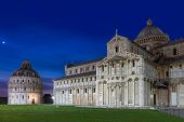 Baptistry and dome of Pisa after sunset, Tuscany, Italy poster