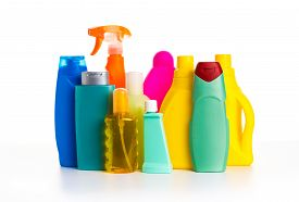 Cleaning Product Plastic Multi-colored Container For House Clean On White Table And Isolated. Househ