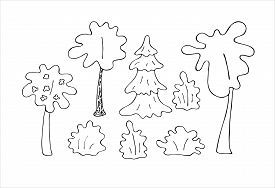 Set Of Trees. Isolated On A White Background. Stock Vector Illustration. Black And White Graphics. M