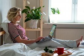 Distance Learning Online Education And Work.happy Woman Girl Working Office Work Remotely From Home