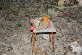 Pripyat Chernobyl Ukraine 09 03 17: Abandoned Gas Masks Of Ghost City Of Pripyat Exclusion Zone Of C