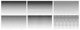 Halftone Gradient. Dotted Gradient, Smooth Dots Spraying And Halftones Dot Background Seamless Horiz