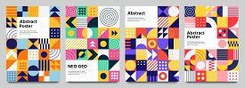 Colorful Neo Geometric Poster. Grid With Color Geometrical Shapes. Modern Abstract Promotional Flyer