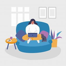 Young Woman Working At Home Vector Concept Illustration. Freelancer Character Working From Home With