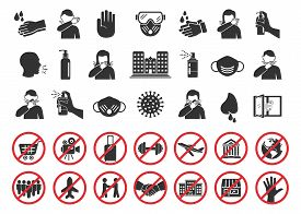 Big Set Of Coronavirus Icons. Preventive Virus Protection Measures, Quarantine Icons, Prohibition Sy