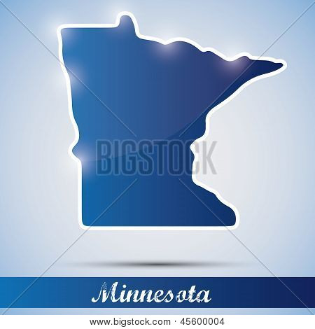 shiny icon in form of Minnesota state, USA
