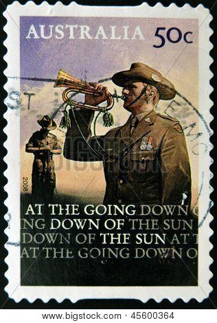 AUSTRALIA - CIRCA 2008: A stamp printed in Australia shows bugler circa 2008