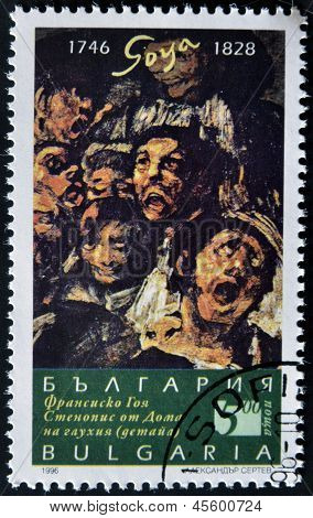 A stamp printed in Bulgaria shows a picture of the black paint of Goya
