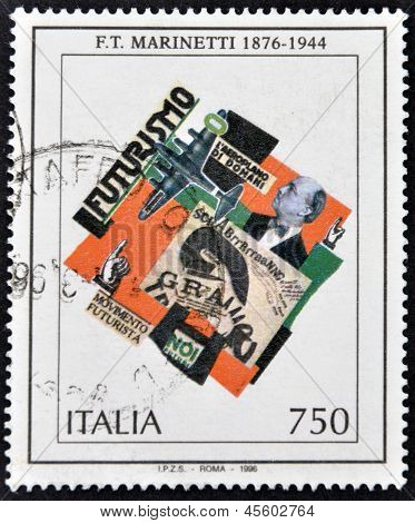 ITALY - CIRCA 1996: A stamp printed in Italy shows work of Marinetti circa 1996