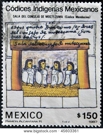 dedicated to Mexican indigenous codices shows council hall of Montezuma (codice mendocino)