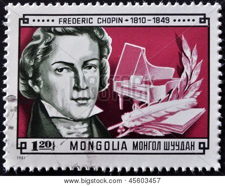 A stamp printed in Mongolia shows image of the famous composer Frederic Chopin