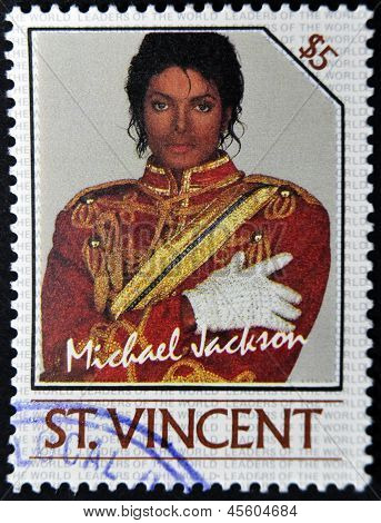 ST. VINCENT - CIRCA 1985: A stamp printed in St. Vincent shows Michael Jackson circa 1985