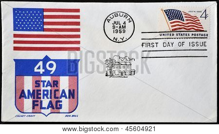 USA - CIRCA 1959: Independence commemorative stamp flaming the United States flag circa 1959