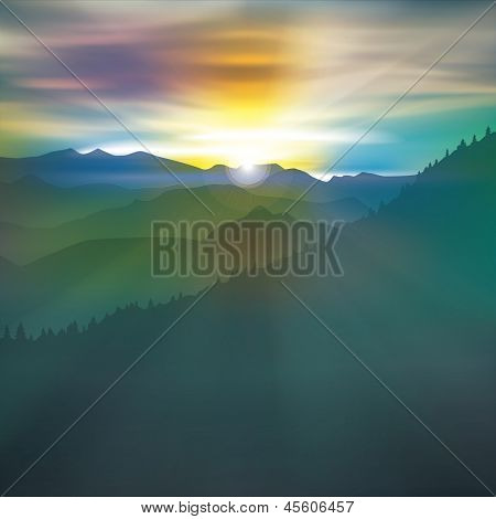 Abstract Background With Mountains And Sunrise