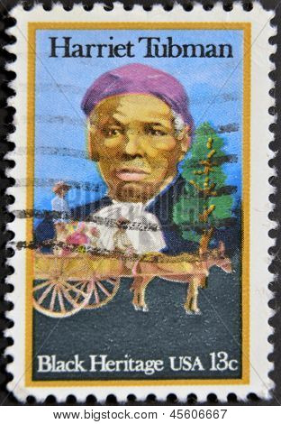 Francobollo stampato In Usa mostrano Harriet Tubman afro-americano abolizionista, patrimonio umanitario nero