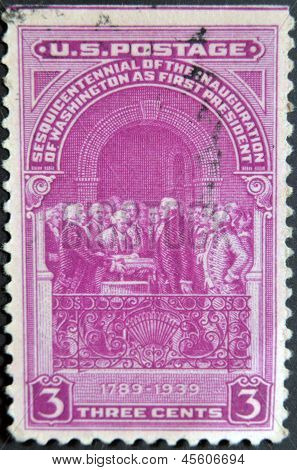 Usa - Circa 1939: A Stamp Printed In Usa Shows Inauguration Of Washington As First President