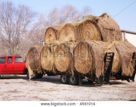 Bales Of Hay On Truck